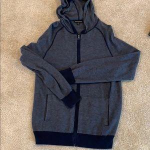 Men's banana republic zip up sweater (large, navy)